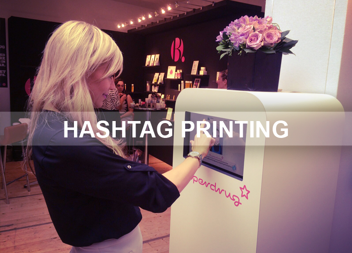 Hashtag printing at photobooth