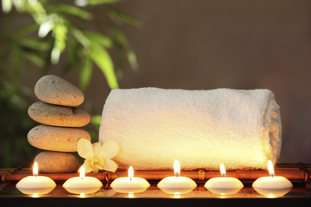 candles, towels and elements from nature